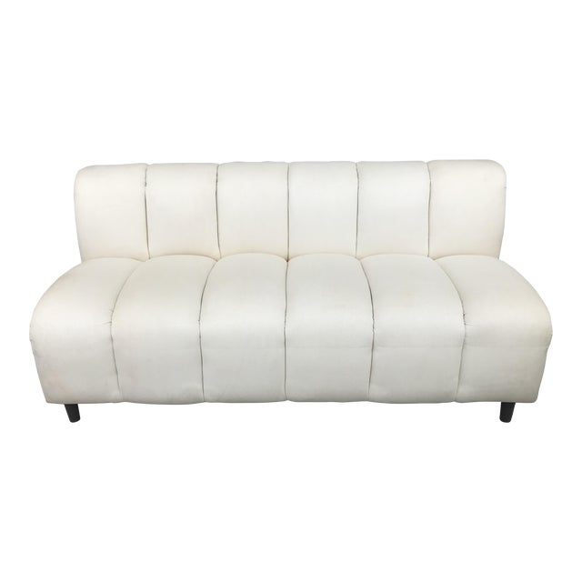 Bernhardt Flair Mid-Century White Ribbed Sofa - Image 1 of 5