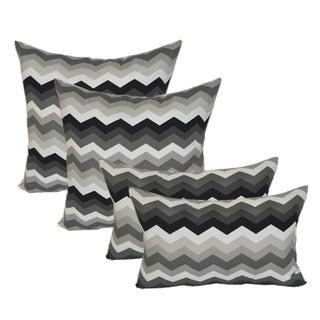 Black & Gray Chevron Outdoor Pillows - Set of 4