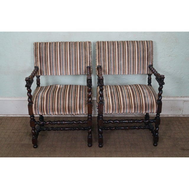 Antique Oak Lion Barley Twist Armchairs - A Pair - Image 2 of 10