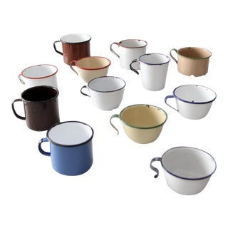 Vintage Enamelware Mug Collection - Set of 12