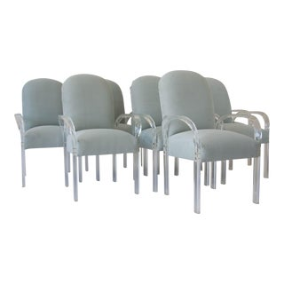 Set of Eight Dining Chairs with Lucite Arms