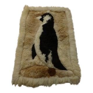 Vintage Handmade Penguin Sheepskin Rug - 1′7″ × 2′4″