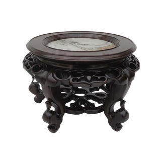 Chinese Chicken Feather Wood & Marble Display Stand