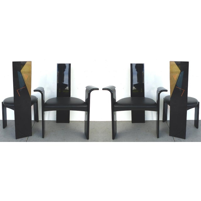Image of Lacquered Chairs with Painted Backs - Set of 4