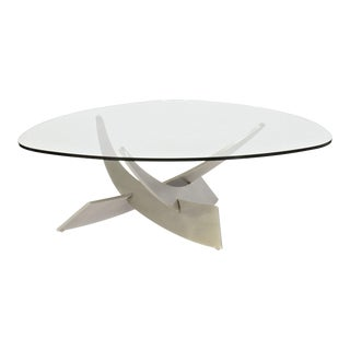 Silex Metal and Glass Top Coffee Table