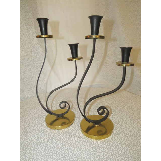 Mid-Century Black & Gold Chrome Candle Holder - A Pair - Image 2 of 9