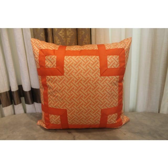 Orange Greek Key Pillow - Image 2 of 6