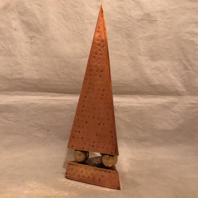 Hammered Copper & Brass Pyramidal Obelisk - Image 2 of 5