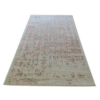 Gray Orange Distressed Turkish Rug -- 8' X 10'7''