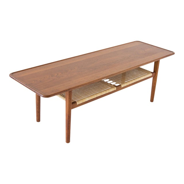Hans Wegner AT-10 Coffee Table with Cane Shelf - Image 1 of 8
