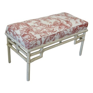 Vintage Ficks Reed Rattan Upholstered Bench