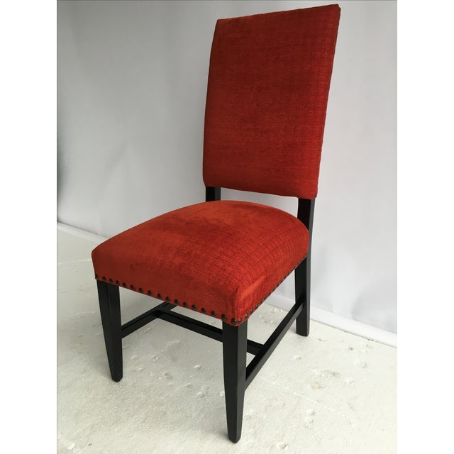 Transitional Red Chenille Dining Chairs - Set of 4 - Image 2 of 11