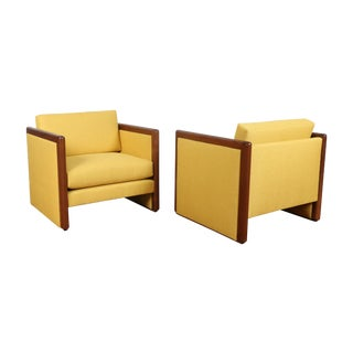 Mid Century Yellow Club Chairs - Pair