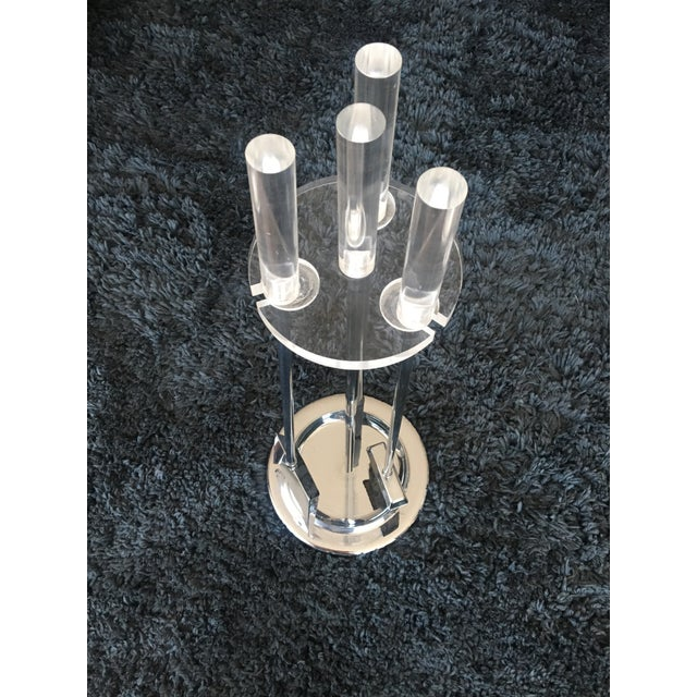 Mid-Century Modern Lucite Chrome Fireplace Tools Set - Image 2 of 5
