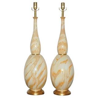 Art Glass Lamps of Orange and Peach Swirls