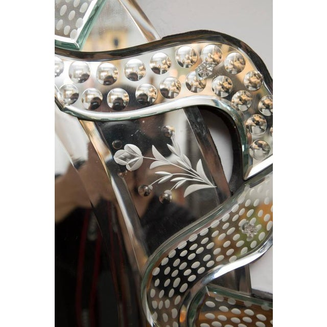 Image of Venetian Etched Ribbon Design Wall Mirror