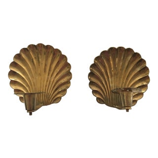 Vintage Brass Shell Candle Sconces