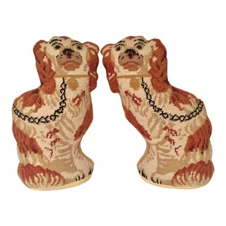 Vintage Handmade Needlepoint Staffordshire Spaniel Pillows - A Pair