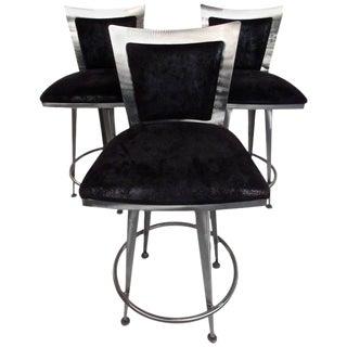 Italian Modern Swivel Barstools - Set of 3