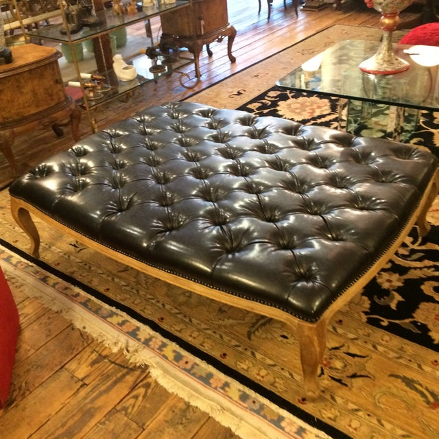 Button Tufted Black Faux Leather Ottoman - Image 5 of 5