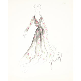 Floral Dress, 1950s Original Fashion Illustration