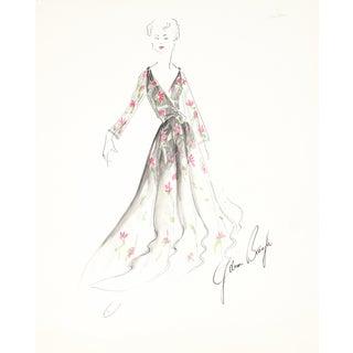 Floral Dress, 1950s Original Fashion Illustration