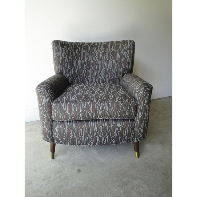 Image of Brown Retro Print Modern Lounge Chair