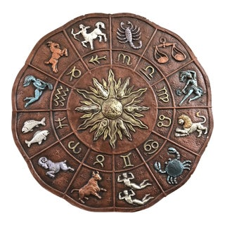 Mid-Century Vintage Large Zodiac Wall Plaque