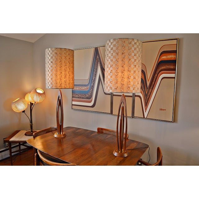 Danish-Style Sculpted Teak Lamps- A Pair - Image 3 of 9