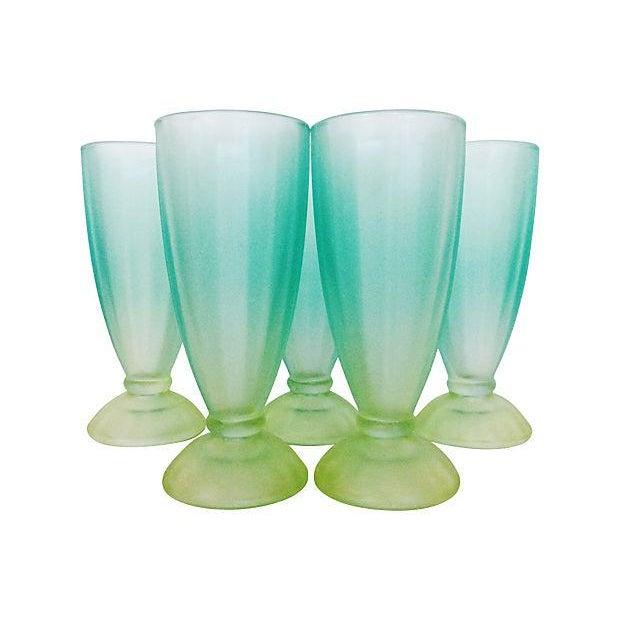 Image of 1950s Aqua & Green Sundae Glasses - Set of 5