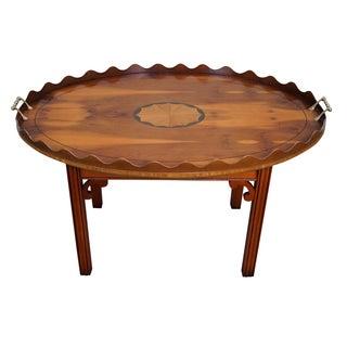 English Yew Wood Inlaid Tray Top Coffee Table