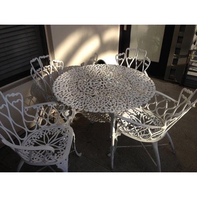 white outdoor bistro dining set chairish. Black Bedroom Furniture Sets. Home Design Ideas