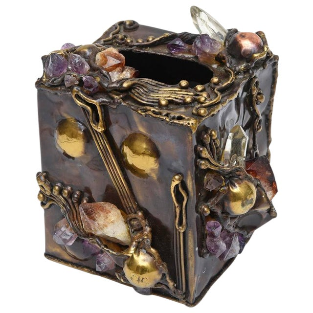 Brutalist Sculptural Mixed Metal and Amethyst, Quartz Tissue Box/ SAT.SALE - Image 1 of 10