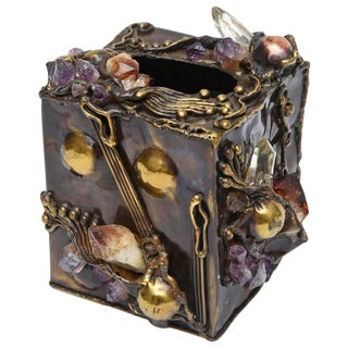 Brutalist Sculptural Mixed Metal and Amethyst, Quartz Tissue Box/ SAT.SALE