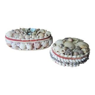 Victorian Folk Art Seashell Trinket Boxes - A Pair