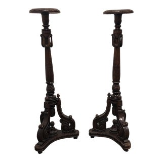 Antique Mahogany Plant / Candle Stands - A Pair