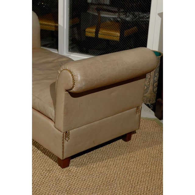 French Convertible Leather Daybed - Image 4 of 6