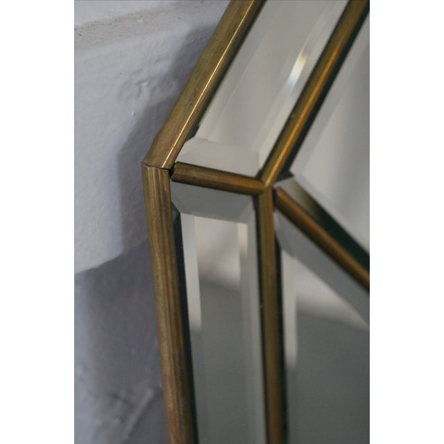 Image of Brass Frame Harlequin Pattern Beveled Glass Mirror