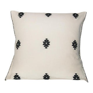 Mexican Boho Chic Handwoven Black and White Diamonds Pillow Cover