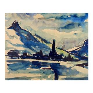 Landscape Blue Watercolor Painting