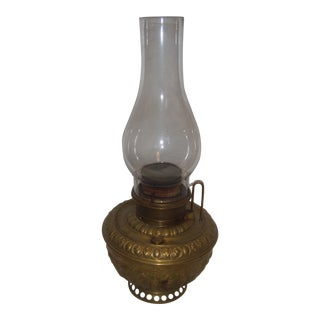 Victorian Ornate Brass Oil Lamp