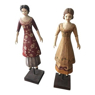 Vintage Wooden Dolls on Stand - A Pair