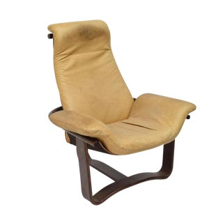 Danish Modern Sling Leather Lounge Chair