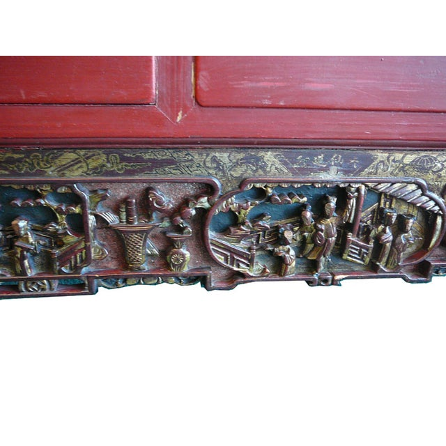 Carved Wall Art with Red and Gold Scenery - Image 4 of 5