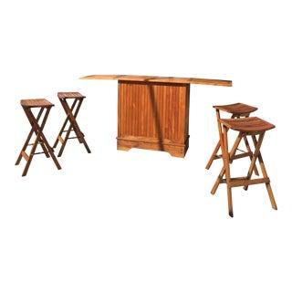 Teak Folding Cabinet Bar & Stools Set
