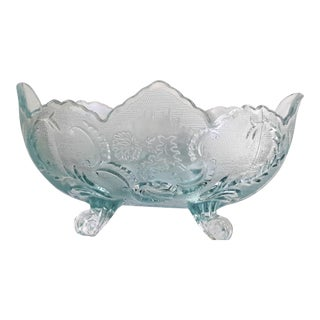 Exquisite Pressed Glass Floral Leaf Mint Green 4-Pegged Antique Bowl