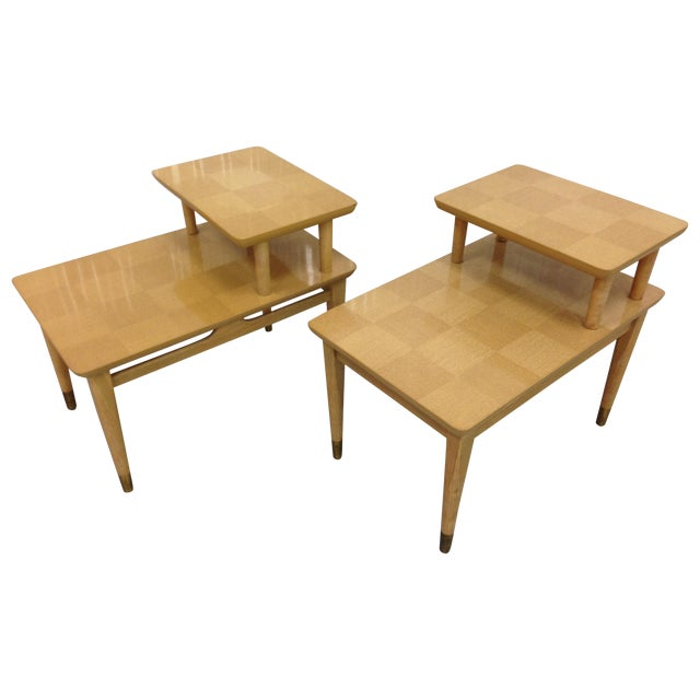Image of Mid-Century Modern Two-Tiered End Tables - A Pair