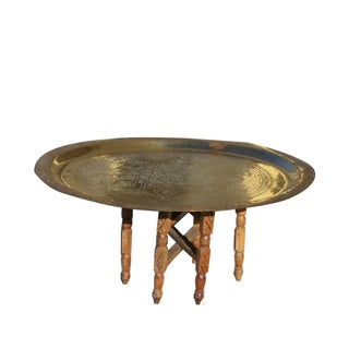 Solid Brass Hand Etched Moroccan Tray Table