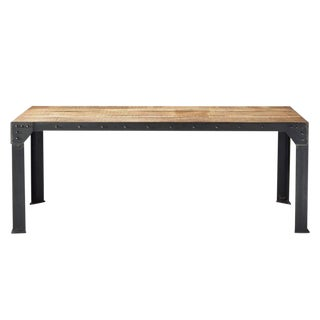 Rustic Industrial Metal and Wood Dining Table