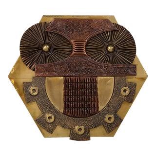 A Copper and Brass Sheet Owl Sculptural Wall Panel 1970s